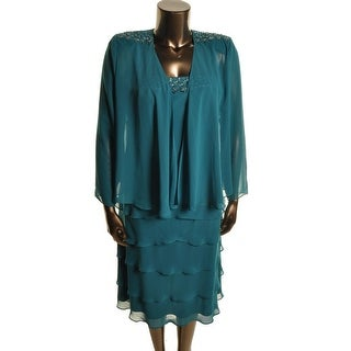 SL Fashions Womens Chiffon Lace Overlay Dress With Jacket