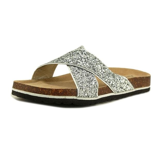 Jambu Grace Women Open Toe Synthetic Silver Slides Sandal