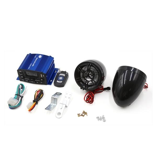 2Pcs Black Blue MP3 USB Amplifier Speaker Audio Stereo DC 12V for Motorcycle