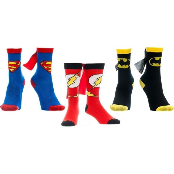 DC Comics Superman Batman Flash Caped Youth Socks, Medium