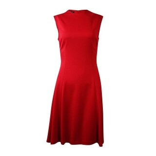INC International Concepts Women's Solid Fit & Flare Dress - Holiday Red (Option: 4)