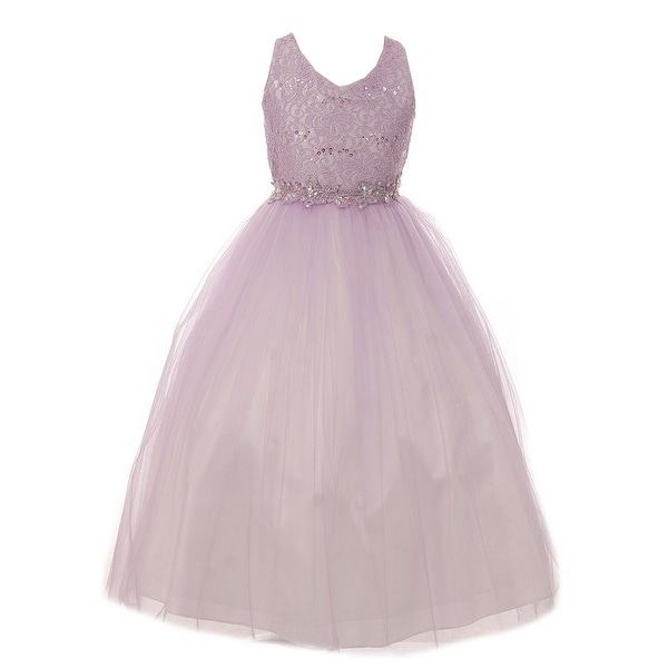 250cc1219e90d Shop Little Girls Lilac Lace Tulle Glitter Stone V-Neck Flower Girl Dress -  Free Shipping Today - Overstock - 23553677