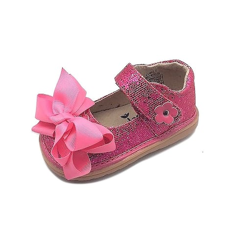 Mooshu Trainers Little Girls Hot Pink Sparkle Squeak Mary Jane Shoes