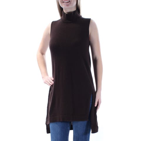 ALFANI Womens Brown Sleeveless Turtle Neck Hi-Lo Sweater Size M