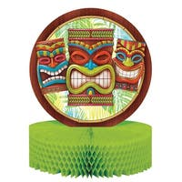 """Club Pack of 12 Brown and Green Tiki Time Themed Honeycomb Centerpiece 13.5"""""""