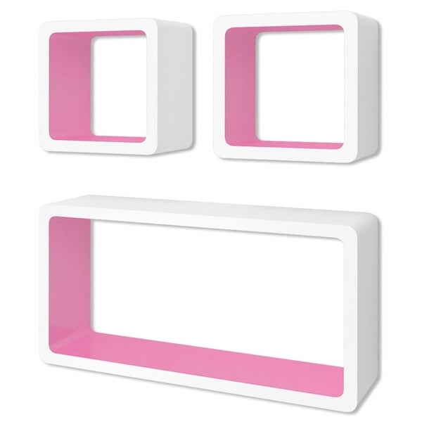 vidaXL 6x Wall Cube Shelves White and Pink Display Hanging Storage Bookcase