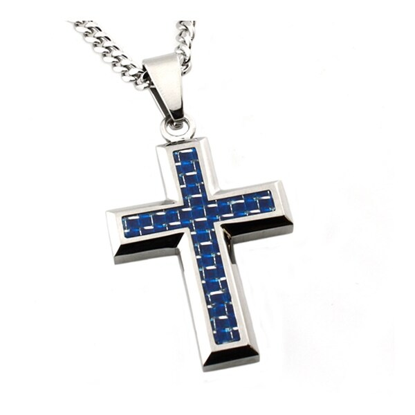 Stainless Steel Blue Carbon Fiber Inlay Cross Pendant - 24 inches