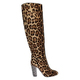 Dolce & Gabbana Leopard Pony Hair Leather Boots Shoes - 37