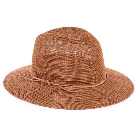 BYOS Womens Fashion Straw Panama Hat W/Faux Skinny Suede Band