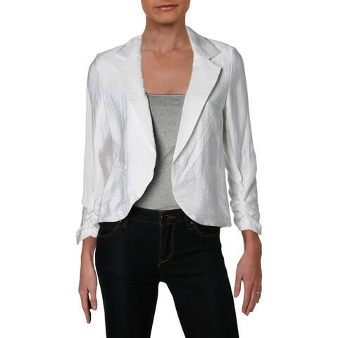 Aqua Womens Open-Front Blazer Ruched Point Collar