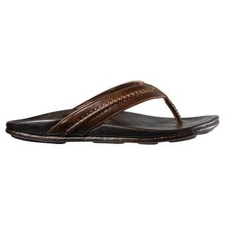 Men's OluKai Mea Ola Leather Sandals, DARK JAVA/DARK JAVA, Size 9