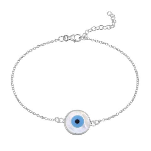 Handmade Evil Eye Protection Mother of Pearl Shell Inlay Sterling Silver Bracelet (Thailand) - White