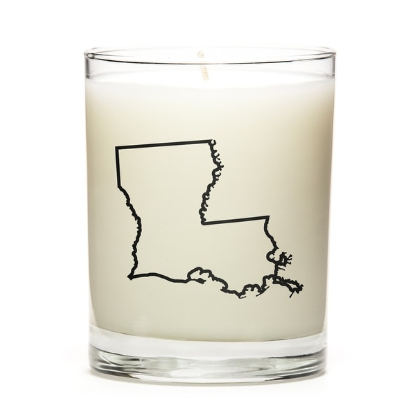 Custom Candles with the Map Outline Louisiana, Peach Belini