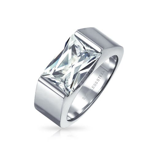 4CT Square Emerald Cut AAA CZ Mens Engagement Ring Stainless Steel