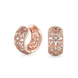 Bling Jewelry Vintage Style Rose Gold Plated CZ Flower Small Hoop Earrings - Pink