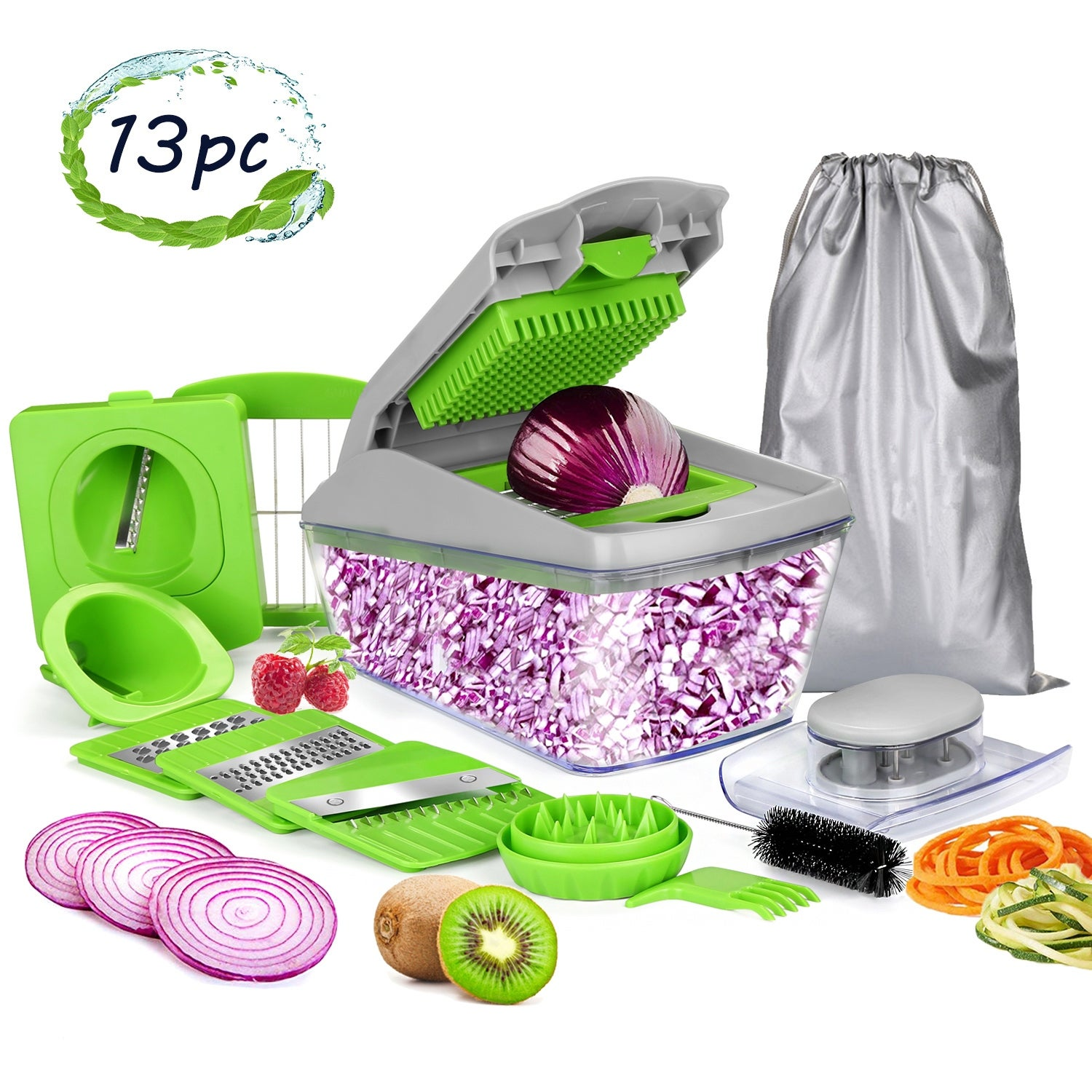 Onion chopper Mandoline Slicer with Stainless steel blade Include Clean Brush and Hand Guard Made in USA Vegetable chopper Black