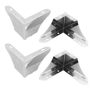 Dorm Metal Furniture Desk Table Edge Corner Protector Guard Silver Tone 4pcs - Silver Tone
