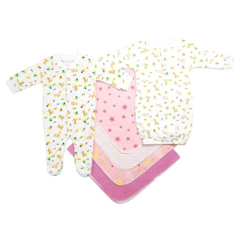 "Set of 6 Stylish Newborn Baby Girl Clothes Set, 8"""