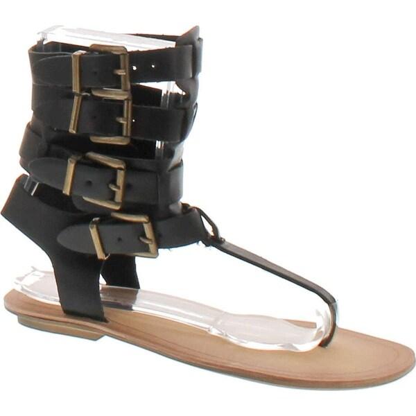 Liliana Avis-3 Women Leatherette Strappy T-Strap Gladiator Thong Sandal - Black