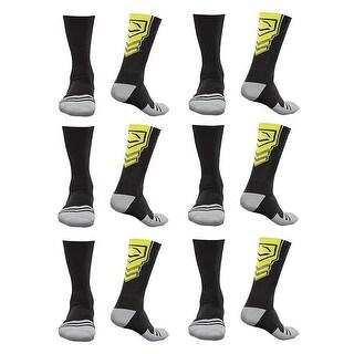 EvoShield Performance Crew Socks Black With Neon Yellow Large (6 pack)