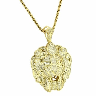 "Custom Zar Lion Pendant 14k Gold Tone Full Iced Out 24"" Chain Lab Diamonds"