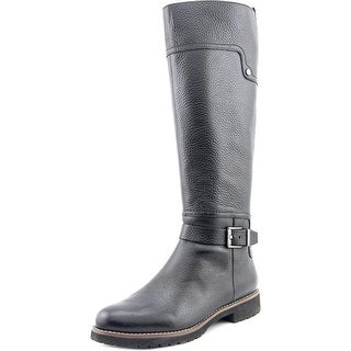 Franco Sarto Chandler Women Round Toe Leather Black Knee High Boot