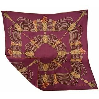 "Gucci 325751 Bordeaux Red Golden Chain Silk Twill Square Scarf 35 x 35 - 35"" x 35"""
