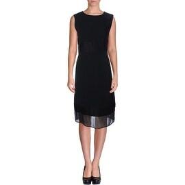 DKNY Womens Silk Trim Sleeveless Wear to Work Dress - L