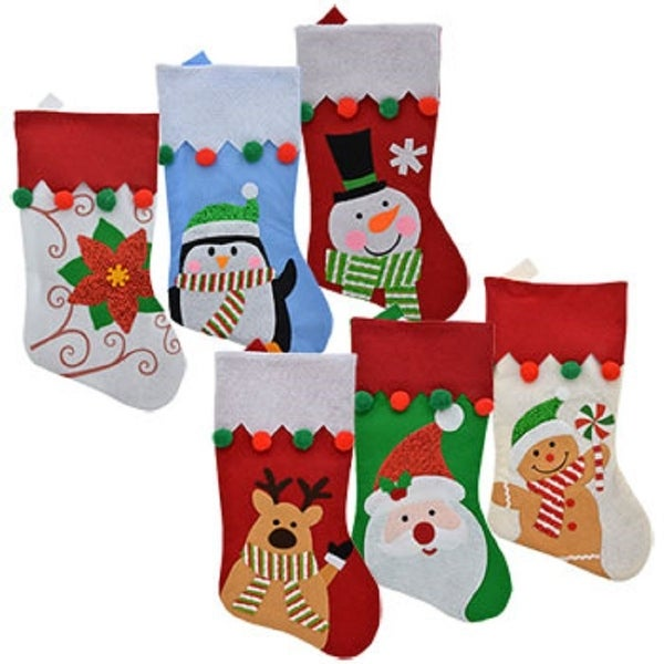 Set of 6 Pack: Christmas House Felt Christmas Character Stockings with Pom-Pom Embellishments, 18 inch