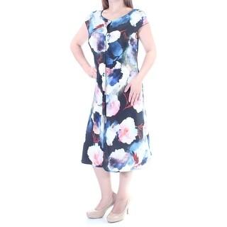 ST JOHN $1295 Womens New 2669 Blue Floral Short Sleeve Fit + Flare Dress 8 B+B