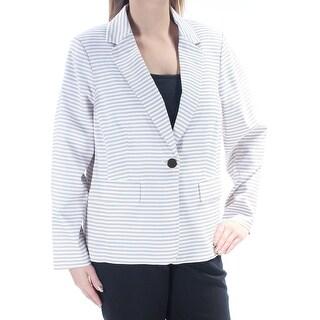 Womens Beige White Striped Wear To Work Blazer Jacket Size 14W