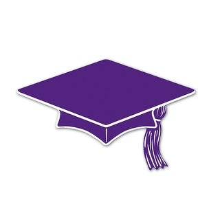 """Club Pack of 240 Purple and White Mini Mortarboard Graduation Cap Cutout Party Decorations 4"""""""
