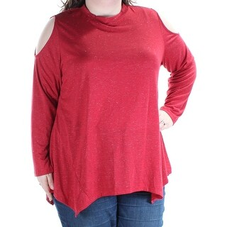 STYLE & COMPANY Womens Red Metallic Coldshoulder Long Sleeve Turtle Neck Top Plus Size: 2X