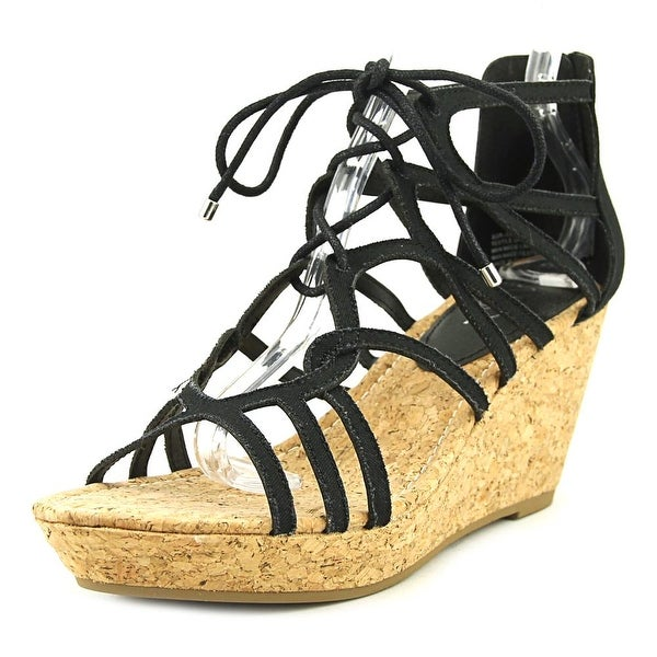 Sugar Julapa Women Open Toe Canvas Black Gladiator Sandal
