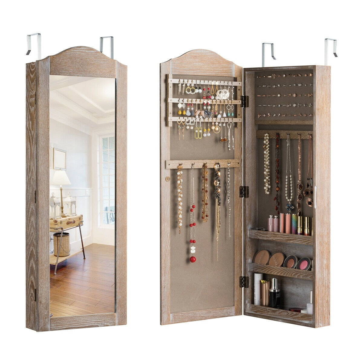 Shop Gymax Jewelry Cabinet Wall Door Mounted Rustic Jewelry Armoire On Sale Overstock 28979208