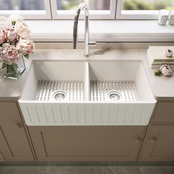 Matte Stone White Reversible Double Basin Kitchen Sink Set & Grids. Opens flyout.