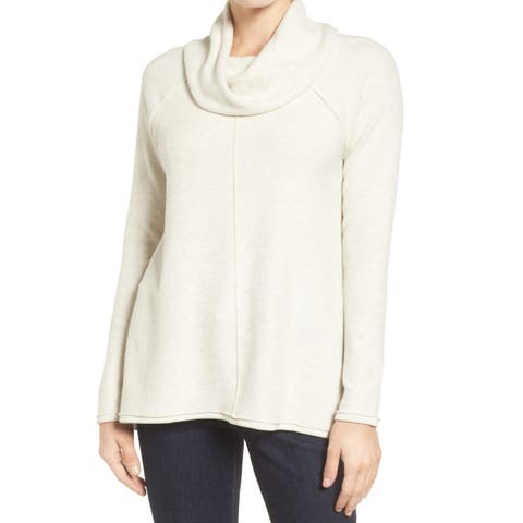 Caslon White Ivory Womens Size Large L Tunic Cowl Neck Seamed Top