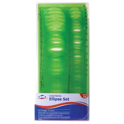 Alvin 3903-02 large series ellipse template set of 15