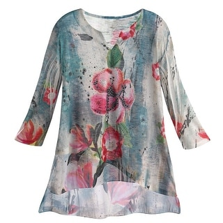 Women's Tunic Top - Abstract Floral Chiffon Shirt