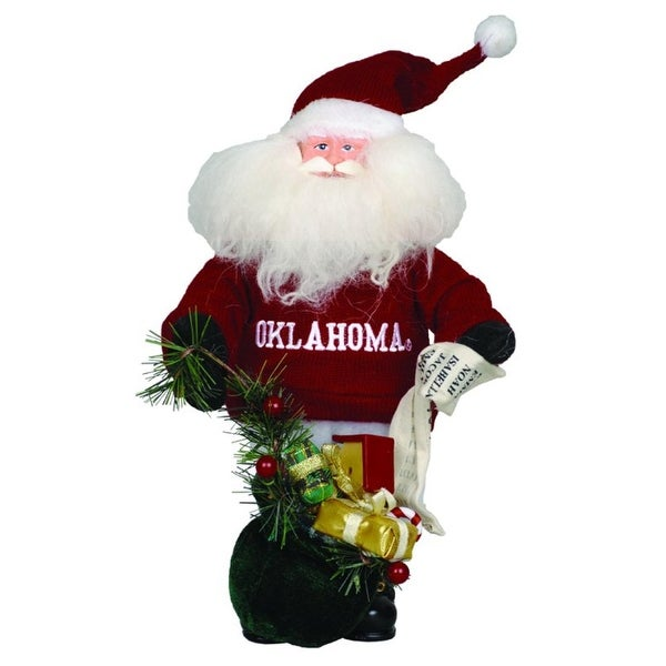 "10"" NCAA Oklahoma Sooners Gift Bearing Santa Claus Christmas Table Top Figure - Red"