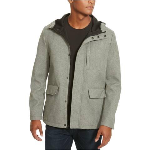 Kenneth Cole Mens High Neck Raincoat, Grey, Medium