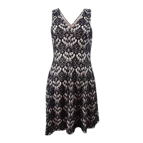 Kensie Women's V-Neck Bonded Lace Dress - Nude/Black