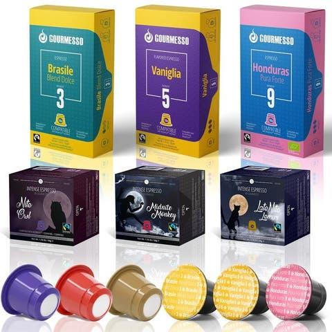 Gourmesso Capsules for Nespresso Machines - 60 ct Espresso Variety - Compatible Fairtrade Coffee Pods