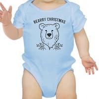 Bearry Christmas Bear Cute Christmas Baby Bodysuit Blue New Mom Gift