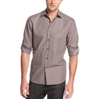 Michael Kors Checkered Long Sleeve Shirt Small S Dark Bordeux Classic Fit