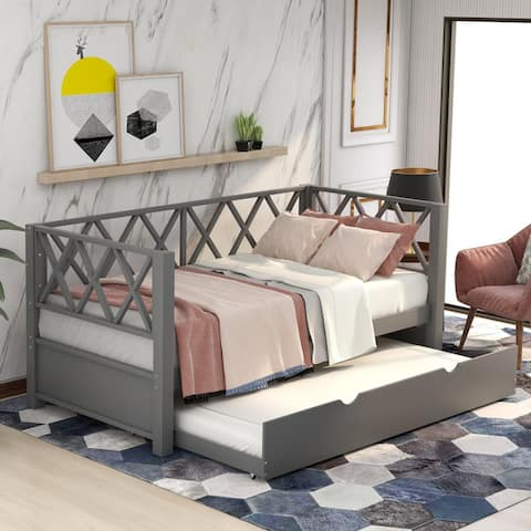 Wood Daybed with Trundle,Twin Size Daybed,X-shaped Back Design,Gray