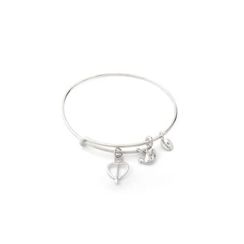 Limited Edition Love Heart Adjustable Charm Bangle Bracelet, Silver Rhodium