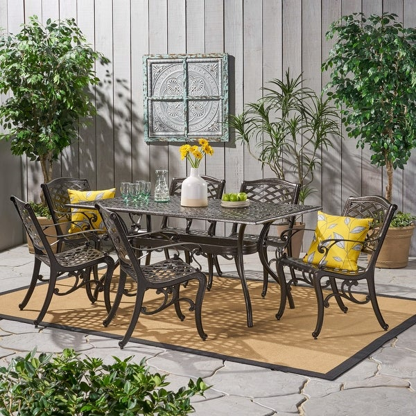 Christopher Knight Home Hallandale 7-piece Aluminum Bronze Dining Set. Opens flyout.
