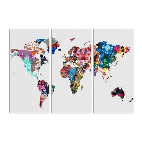 Oliver Gal 'Mapamundi triptych' Maps and Flags Wall Art Canvas Print - Blue, Red