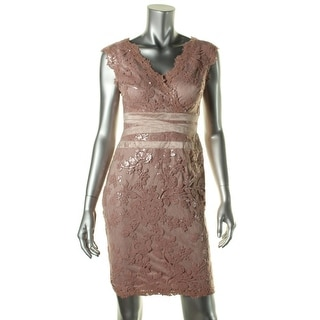 Tadashi Shoji Womens Petites Sequined Cap Sleeves Cocktail Dress - 10P